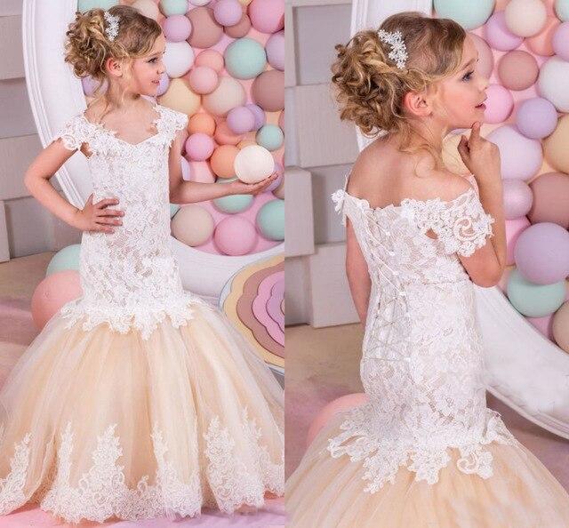dbec7f2fd6 Lovely Champagne Cap Sleeve Mermaid Flower Girl Dresses Boat Neck Lace  Princess Flower Girl Dress vestidos de comunion