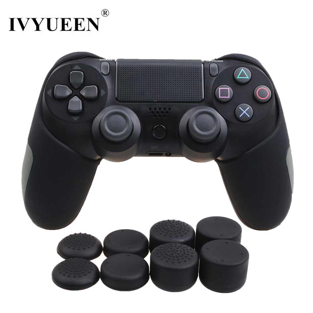 IVYUEEN Soft Silicone Thicker Half Skin Case for Playstation Dualshock 4 PS4 Pro Slim Controller Cover and Thumb Stick Grips