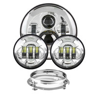 45W Headlight Motorcycle Parts 7 LED Headlight + 4.5 4 1/2 inch Passing Lights For Harley Heritage Softail Classic