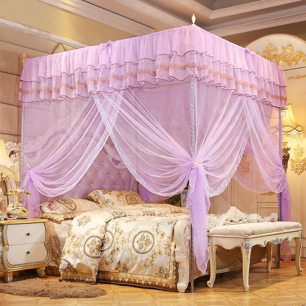 Mosquito In Bedroom: Luxury Princess 4 Corners Post Bed Canopy Mosquito Net