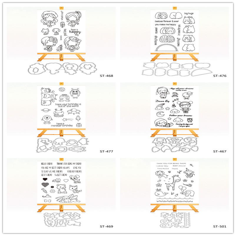Pretty Girl and Cute Cat's Clear Stamps and Cutting Dies Set for Scrapbooking Photo Album Card Making DIY Decoration Supply zhuoang beautiful wooden rubber clear stamps and cutting dies set for scrapbooking photo album card making diy decoration supply