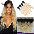 Brazilian Virgin Hair Ombre T1b/613 Body Wave 4Pcs With Lace Frontal Dark Roots Blonde Ombre Human Hair Extension Free Shipping