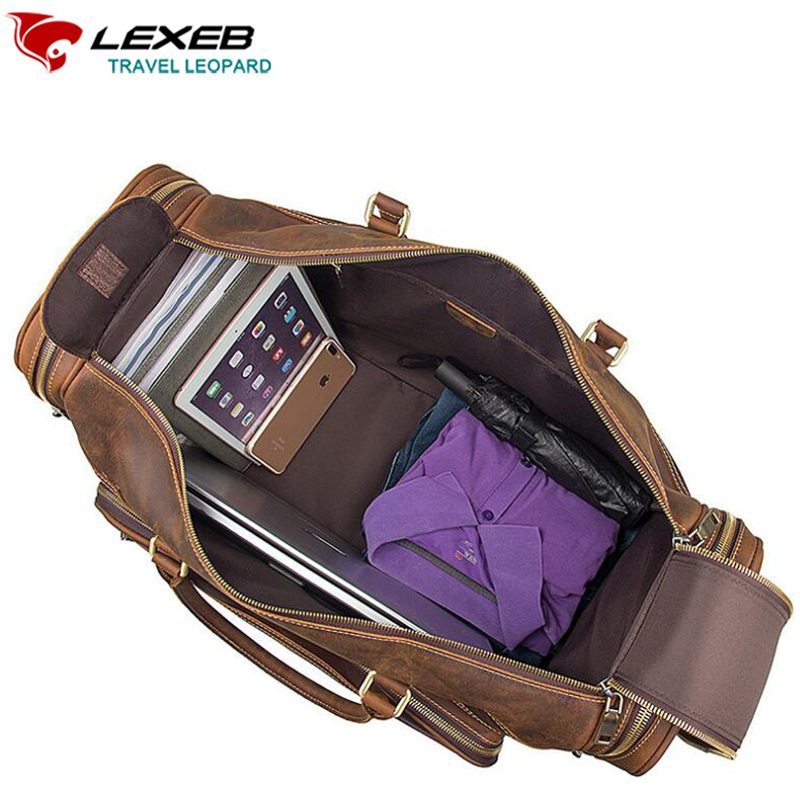 LEXEB Full Grain Leather Business Travel Duffle For Men Overnight Weekender Big Bag Carry On Luggage Top Quality Large Brown anaph holdall men s italian leather weekender travel duffle bags fit 17 laptop cabin bag carry on luggage in coffee