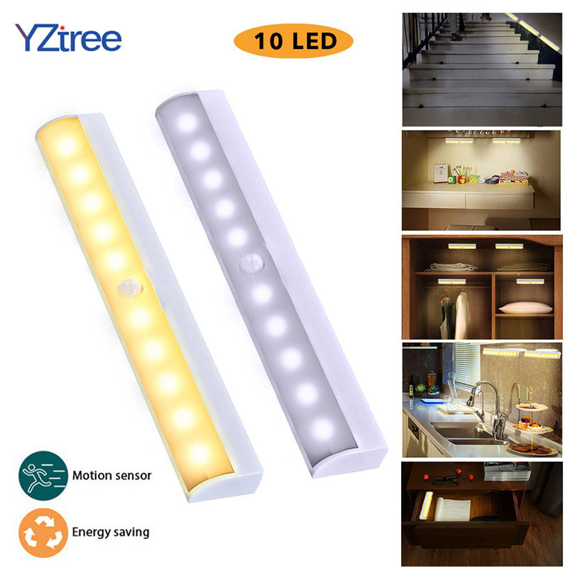 YZtree Motion Sensor LED Night Light 10 LED Closet Lights Battery Powered Wireless Cabinet Infrared Motion Detector Wall Lamp