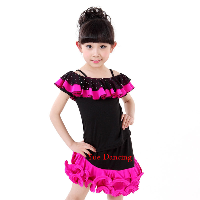 4-15Y Girls Flower Waves Latin Tops and Skirts Children Sequins Standard Competition Dress Kids Stage Show Costumes For Sale