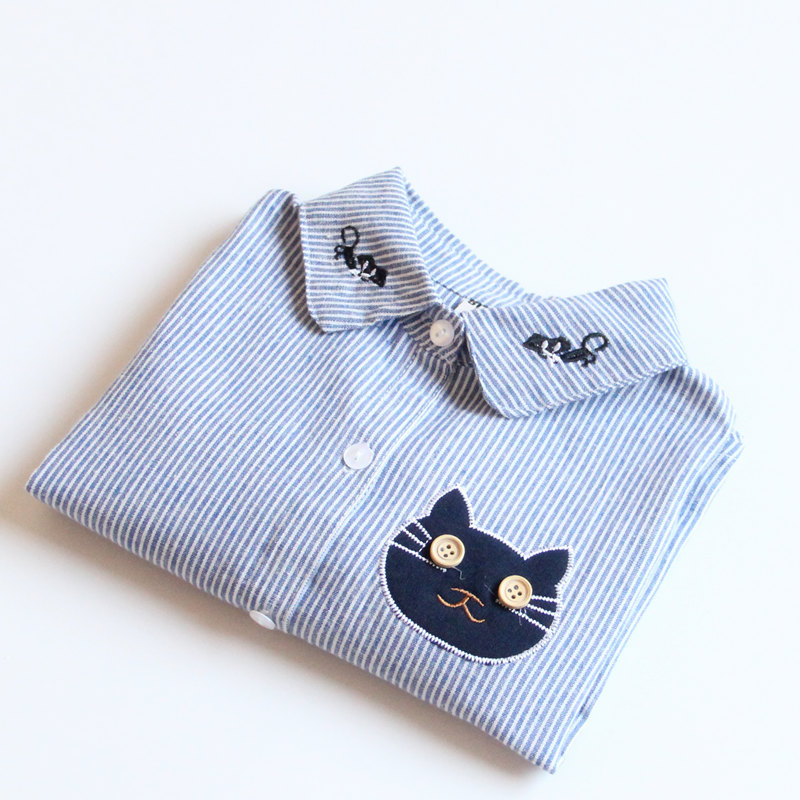 7e518bfb Fashion Autumn Children Kids Girls Baby Long Sleeve Striped Embroidery  Cartoon Cat Turn Down Collar Shirts Blouse Tops S5470-in Blouses & Shirts  from Mother ...