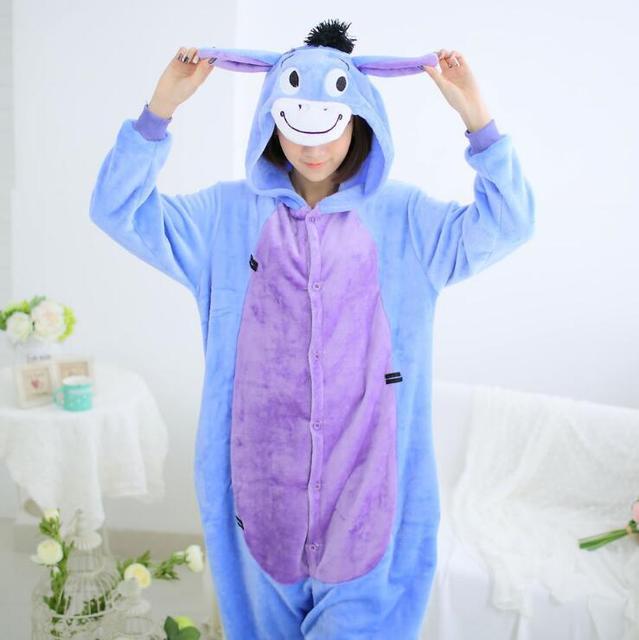 8d10ef8a9bc7 Men Women Winter Spring Fleece Kawaii Cute Adult Animal Couples Onesie  Pajamas Costume Donkey Eeyore Onesie Sleepwear Suit Onesi