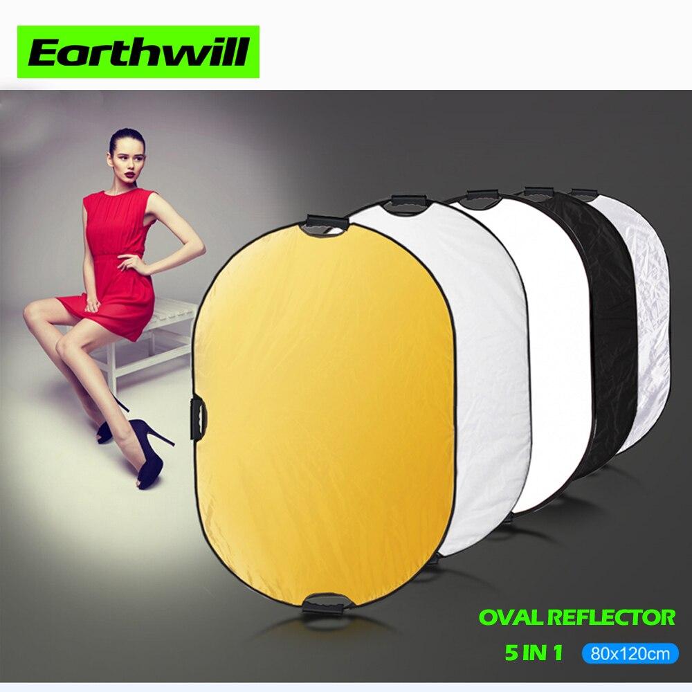 Photo studio réflecteur ovale 80*120 cm doux coussin de lumière 5 dans 1 Portable pliant portable caméra de photographie mobile en direct de poche