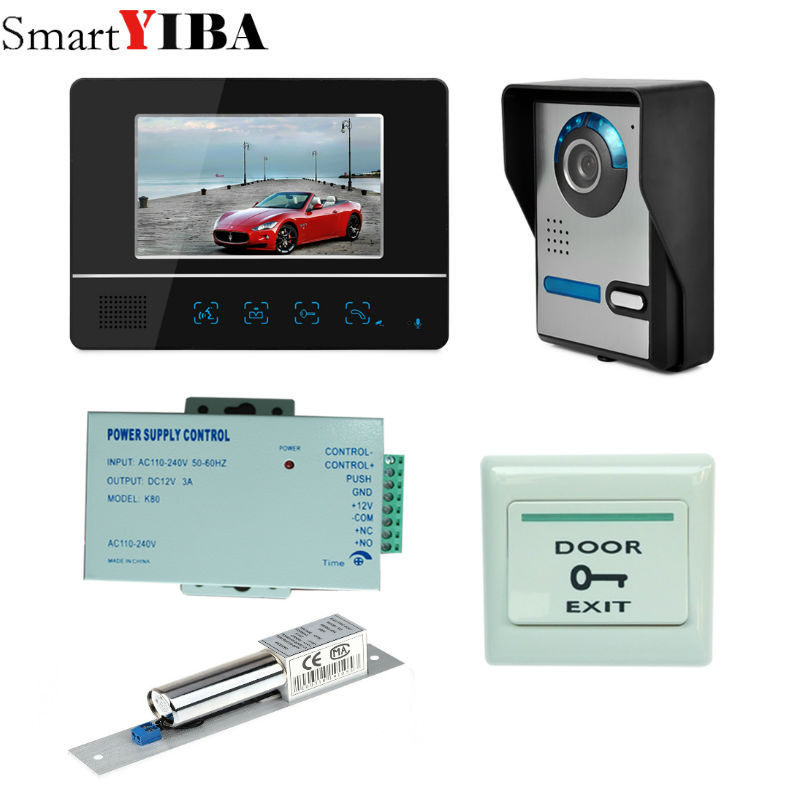 SmartYIBA 7 Inch LCD Video Door Phone Doorbell Intercom Kit 1-camera 1-monitor Night Vision with IR-CUT HD CameraSmartYIBA 7 Inch LCD Video Door Phone Doorbell Intercom Kit 1-camera 1-monitor Night Vision with IR-CUT HD Camera