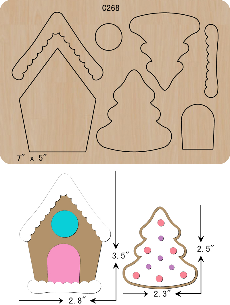 New  Christmas, House, Tree Wooden Die Scrapbooking C-268 Cutting Dies