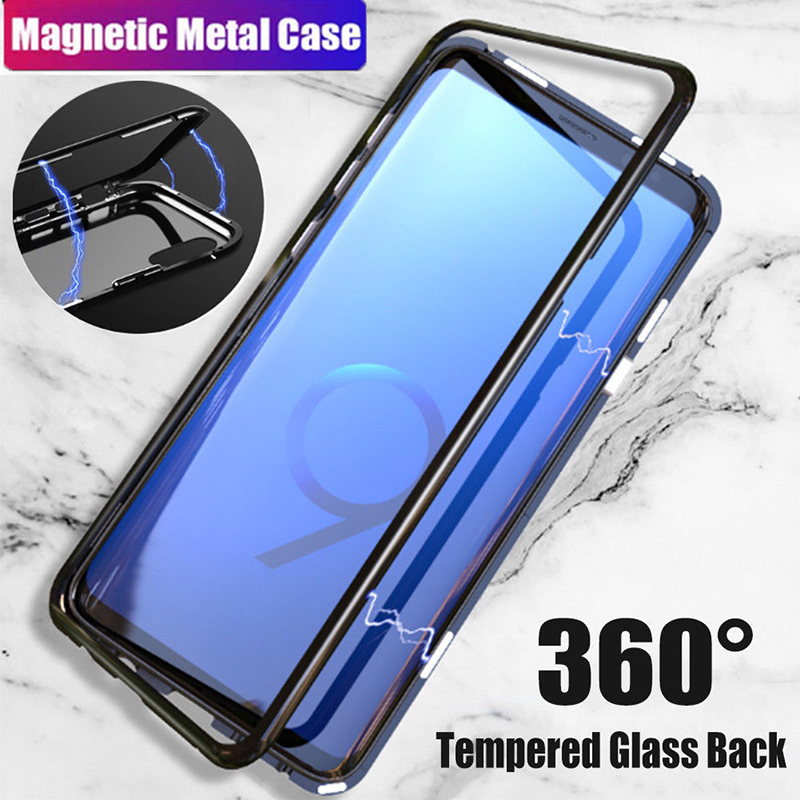 Magnetic Adsorption Metal Case For samsung s9 case Tempered Glass Cover For Samsung Galaxy S8 plus Note 8 9 cases stylish shell Samsung Galaxy S8