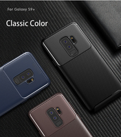 For Samsung S9 PLUS J7 2018 Shockproof Anti-Drop Business Black Brown Carbon Fibre Gel Phone Case Ultra Slim Soft