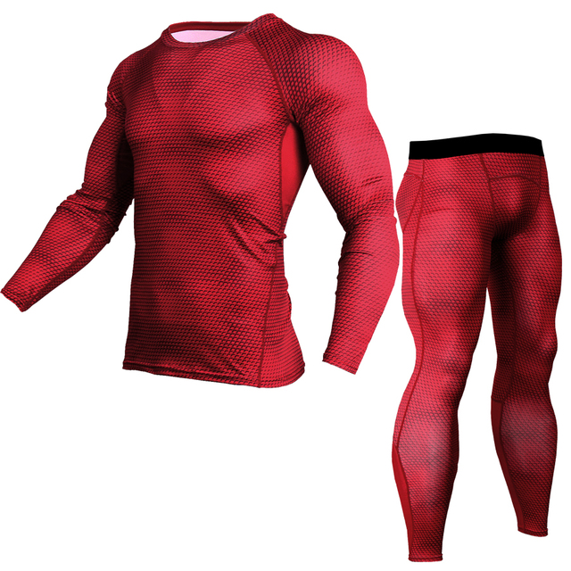 Esportes dos homens Correndo Compressão Conjunto Camisa + Calça-Skin  Apertado Mangas Compridas Roupas Ginásio 968aec159667d
