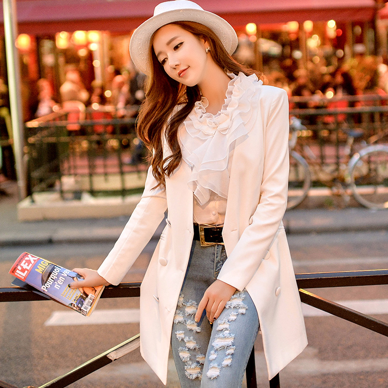 Original New 2017 Brand Spring and Autumn Slim Casual Double Breasted V-Neck Elegant White Women Blazer