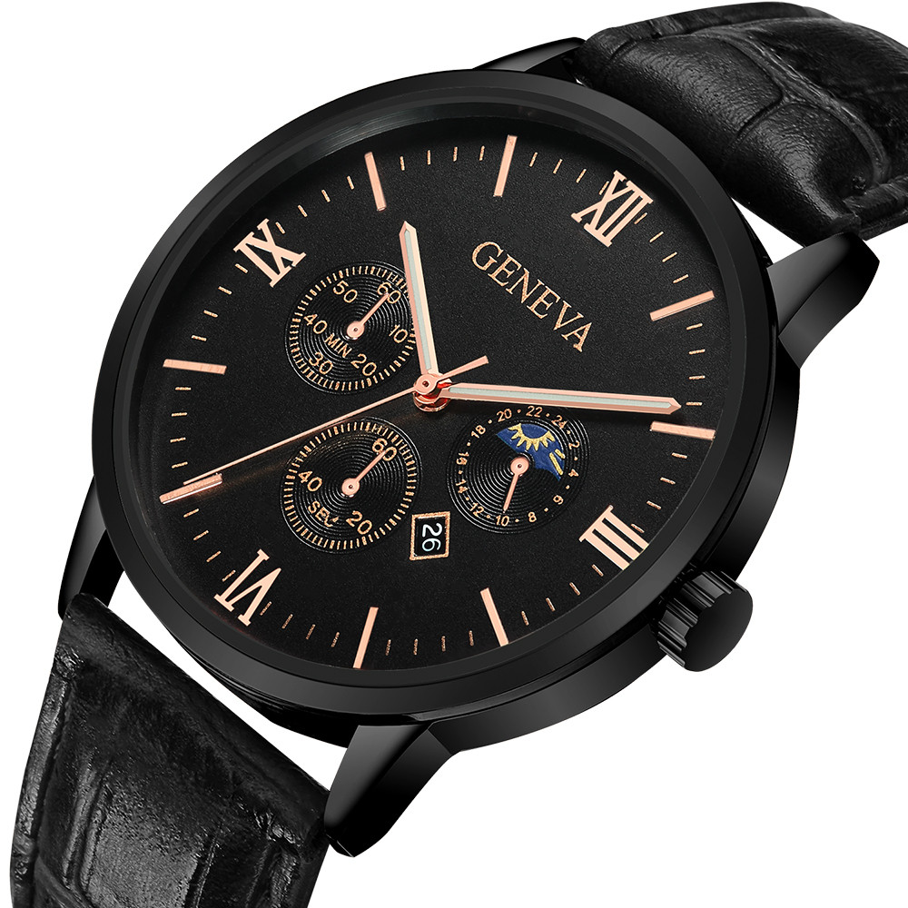 Geneva Fashion Men Date Alloy Case Synthetic Leather Analog Quartz Sport Watch Hot Sale Luxury Wristwatch Clock Retro Alarm Watches Quartz Watches