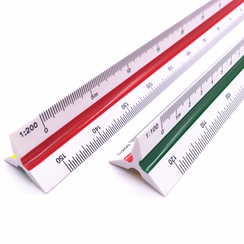 1pcs Tri-scale Precision Ruler 8930 Multifunction Foot Design Drawing Drawing Measurement Tool 30cm