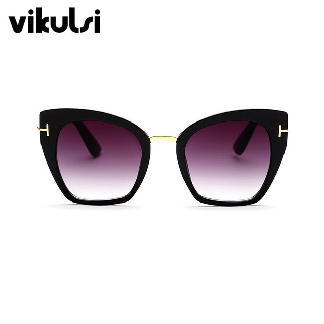 2017 New Fashion Brand Designer Cat Eye Sunglasses Women Tom Sun Glasses Big Size Cateye Vintage Oversize Female Gradient Points 1