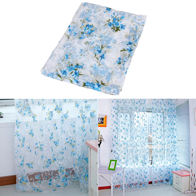 1m*2m New Floral Print Window Voile Curtains Tulle Voile Door Window  Balcony Sheer Panel
