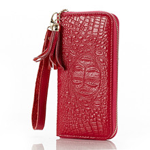 Genuine Leather Women Wallet Crocodile Fashion Women Purse Cow Leather Wallet Long designer Money Clip Carteira Feminina QB175