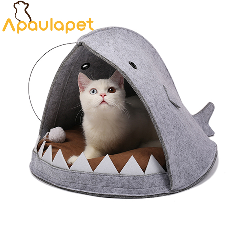 APAULAPET Cat House Shark Shape Dog Beds Warm Soft Cat House Pet Sleeping Bag Cat Kennel Beds For Cat House Nest Mat Pet Product