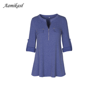 Casual T Shirt Women Roll Up Sleeve V Neck Tops Women Button Pleated Loose Knitted Tunic