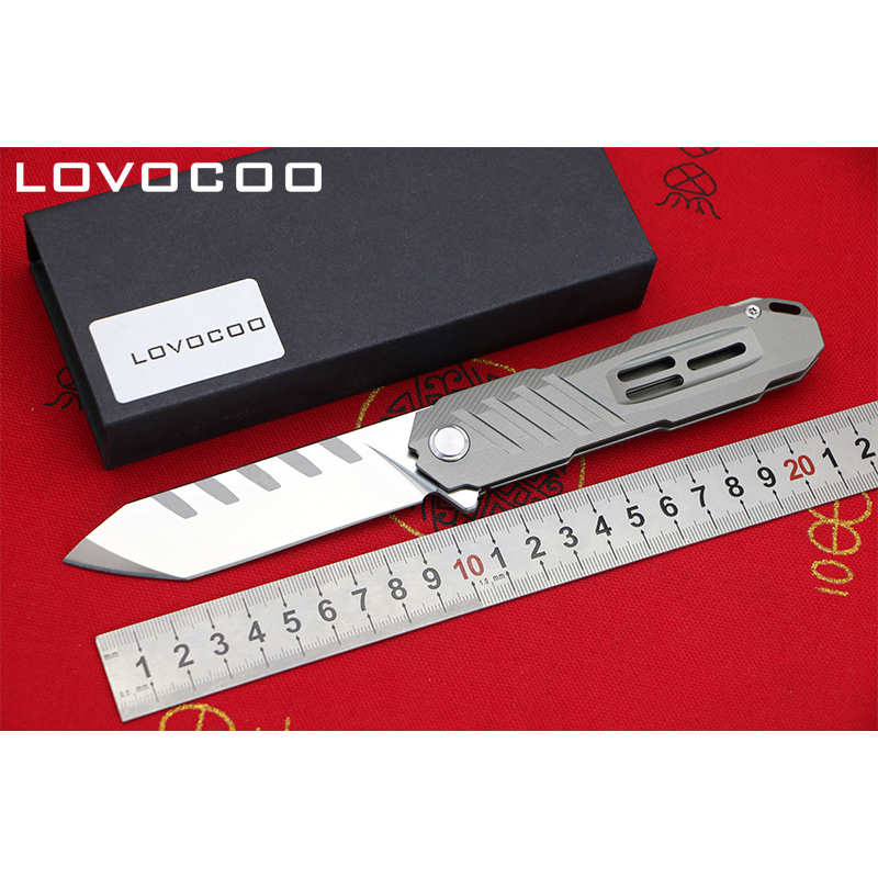 LOCOVOO ST-55 New arrival D2 blade Titanium handle Flipper folding knife Outdoor camping hunting Survival pocket knives EDC tool quality tactical folding knife d2 blade g10 steel handle ball bearing flipper camping survival knife pocket knife tools