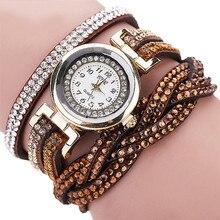 Модные Повседневное кварцевые Для женщин горный хрусталь часы плетеный кожаный браслет подарок Relogio Feminino подарок оптовая продажа Бесплатная доставка