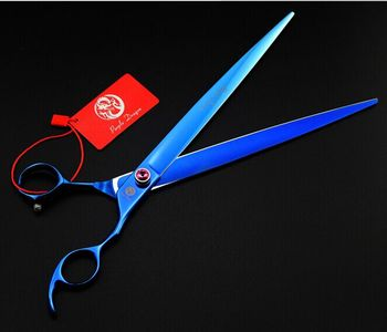 637# 10'' 27cm Brand Purple Dragon TOP GRADE Hairdressing Scissors JP 440C Red Gem Cats Dogs Pets Cutting Scissors Animal Shears