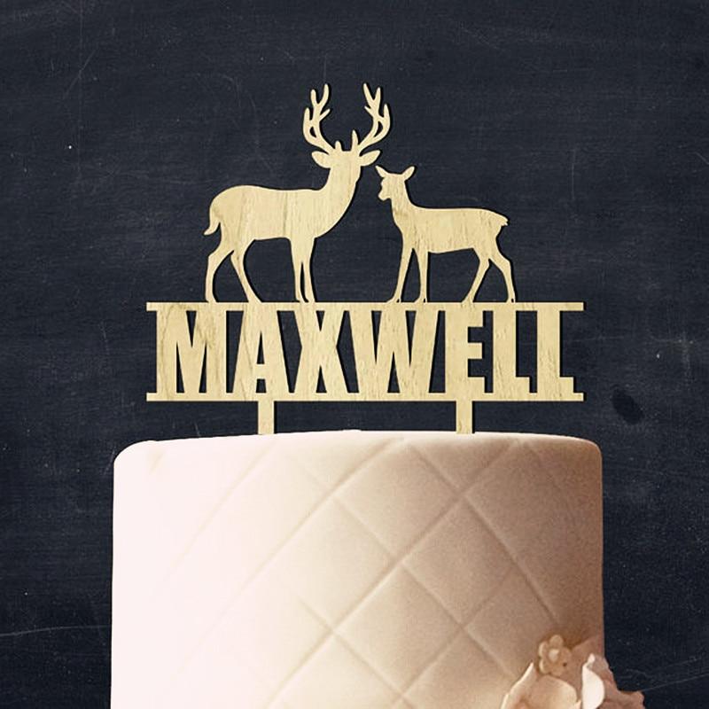 Персонализированные олень Maxwell древесины торт Топпер свадебный деревенский торт Toppers пара свадебный подарок