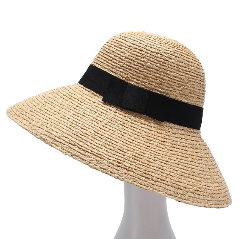 Image 3 - 2018 New Raffia Women Straw Summer Sun Hats For Ladies Beach Hat Fashion Handmade Large Wide Brim Bucket Visor Caps Gift-in Women's Sun Hats from Apparel Accessories