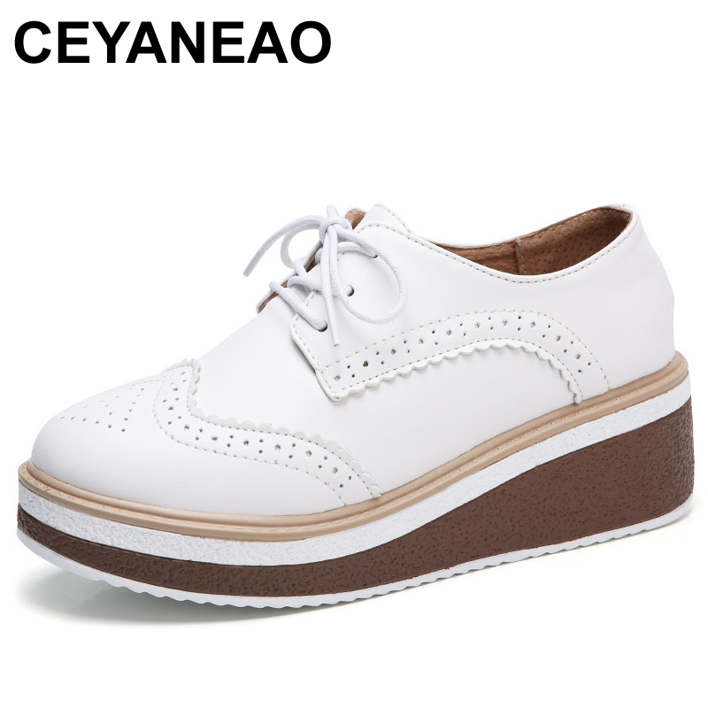 CEYANEAOWomen Flat Platform Casual Sneakers shoes Microfiber Ladies Oxford shoes Lace Up Loafer With   Leather   Luxury Round Toe