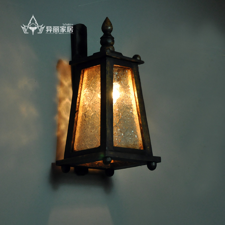 Southeast Asian Style Wood Carved Wall Lamp Thai Villa Balcony Lights Outdoor Garden Lamps Retro In From Lighting On