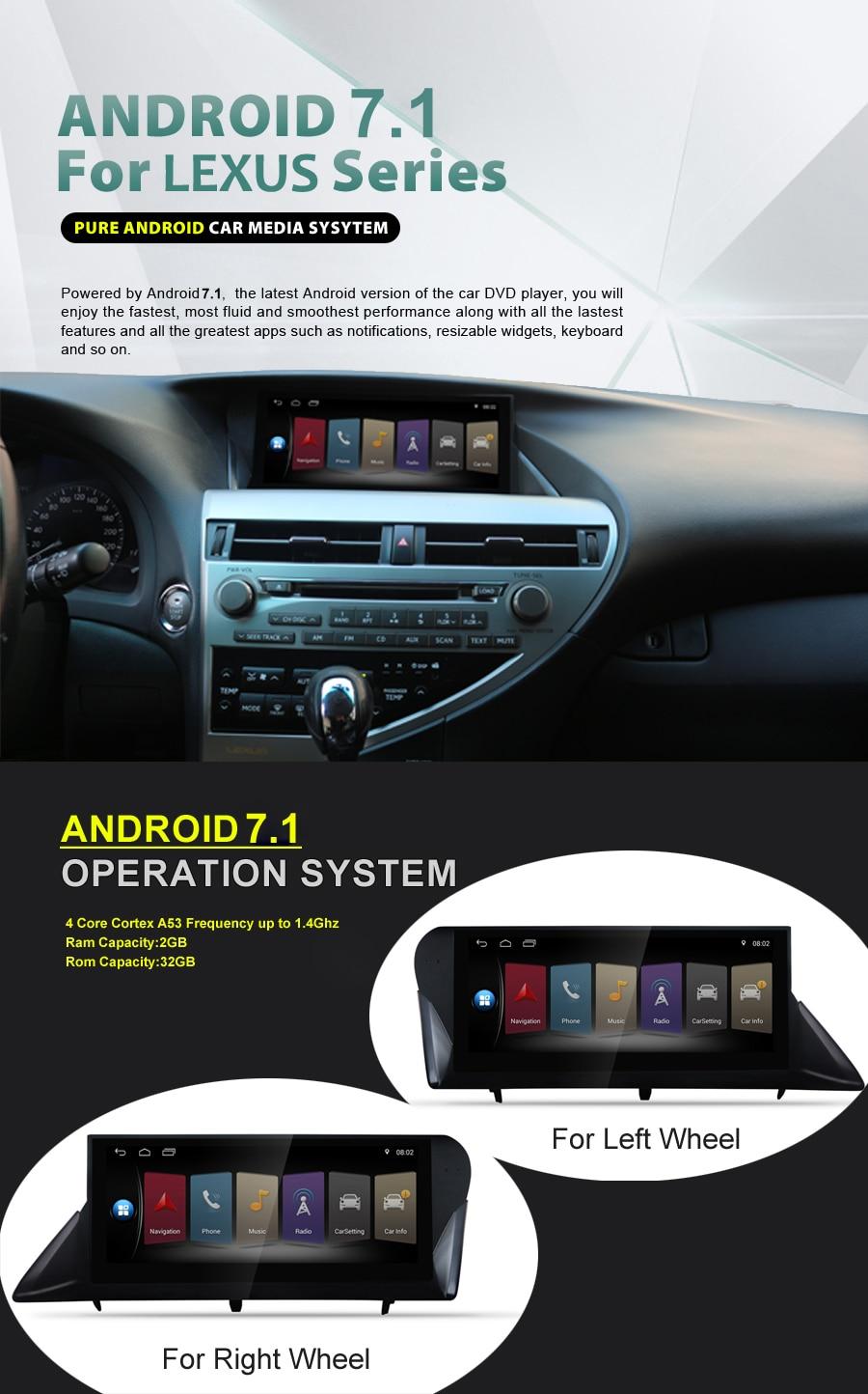 Para LEXUS RX270 RX350 2009 ~ 2015 rueda derecha 10,25 pulgadas pantalla táctil completa grabador unidades de cabeza coche reproductor multimedia gps de navegación