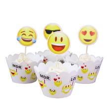 24pcs Greative Emoji Cupcake Wrappers Cake Toppers Picks Set For Baby Shower Boy Kids Birthday Party