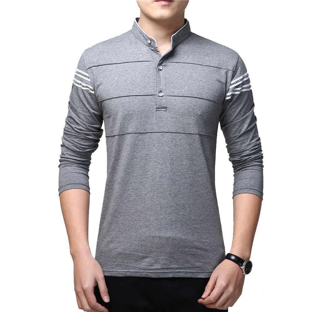 BROWON diseño de moda Primavera Social T camisa de manga larga de los  hombres más tamaño dafa9b0cb64