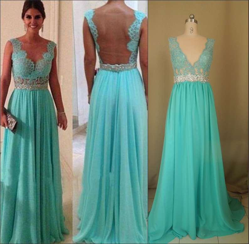 New!!!! Hot&Sexy Long Floor Length Weddings & Events Bridesmaid Dress Lace Mint Chiffon Beach Bridesmaid Dress In Stock