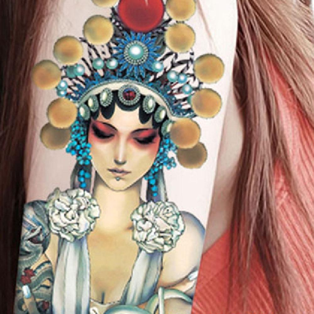 Yeeech Temporary Tattoos Sticker Large Chinese Peking Opera Facial Makeup Designs Fake Long Lasting Look Real Body Arm Leg Art-in Temporary Tattoos from ...