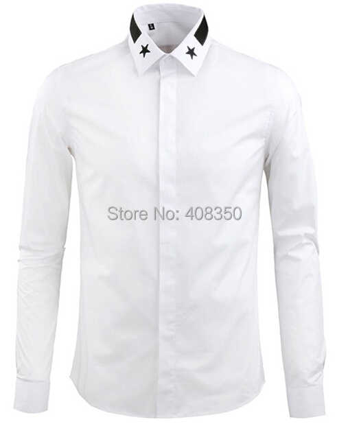 Men\'s Fashion Embroidery Stars Collar Cotton BlackWhite Long Sleeve Party Dress Shirt Casual Masculina Camiseta Business Shirt.jpg