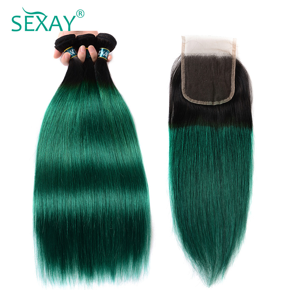 Sexay Green Ombre Straight Human Hair 3 Bundles With Closures 1B/Green Dark Roots Peruvian Straight Human Hair Weave And Closure