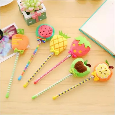 Plush fruit Gel pen signing pen Creative Stationery gifts free shipping