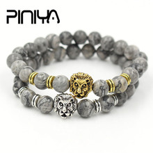 PINIYA Drop Shipping Mens Gift 8mm Natural Marble Stone Bead Antique Silver Gold Color Lion Head Charm Bracelet Jewelry pulseras