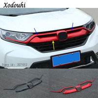 Car Cover ABS Trim Front Logo Mark Decorative Mark Grid Grill Grille Racing Frame Stick For Honda CRV CR V 2017 2018 2019 2020