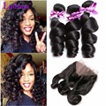 360 Lace Frontal With Bundle 7A Unprocessed Loose Wave Lace Closure With Bundles Peruvian Loose Wave 3 Bundles With Closure Deal