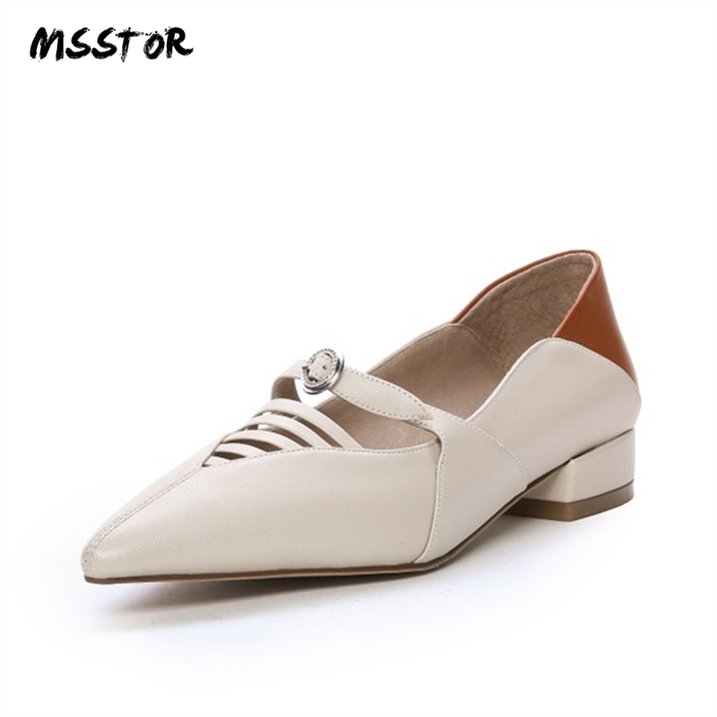 MSSTOR Hollow Low Heel Shoes Mixed Colors Fashion Casual Autumn Spring Pointed Toe Buckle Ladies Shoes