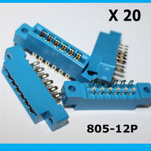Free shhipping 20PCS 805 Series 3.96mm Pitch 2X6P 12pin PCB Mount Card Edge Connector