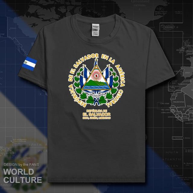 El Salvador Pria T Shirt Fashion Kaus Bangsa Tim 100% Katun Pakaian Tees Negara Olahraga Bendera Salvador SLV 20