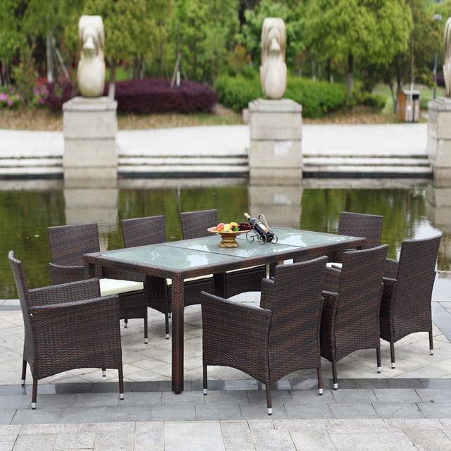 ikayaa 9 pcs rotin patio exterieur table a manger ensemble amorti meubles de patio de jardin