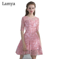Lamya 2017 Newest Real Photo Elegant Short Evening Dresses With Sleeve Embroidery Cusotmized Beautiful Cheap Prom Party Dress