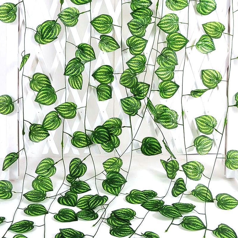 Artificial Decorations Festive & Party Supplies 2m Artificial Ivy Leaf Garland Plants Vine Fake Foliage Green Watermelon Leaf Rattan Plant Wedding Home Garden Decoration