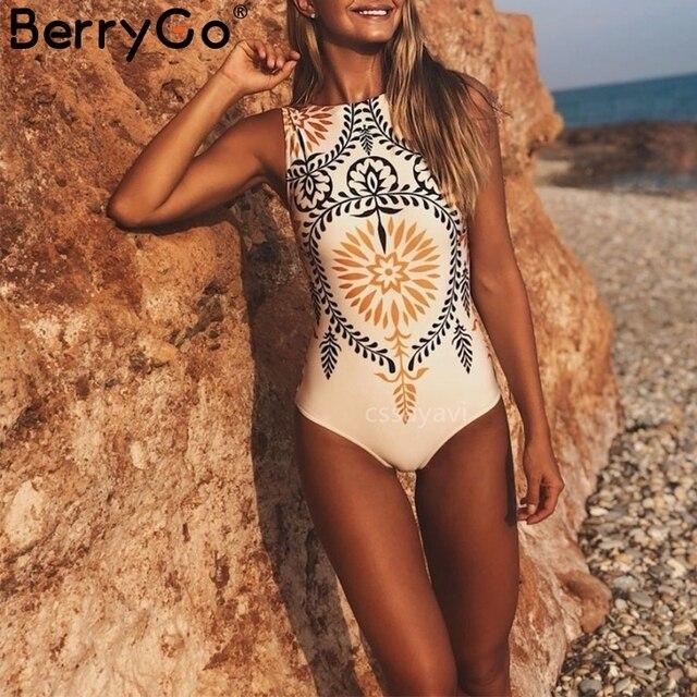 BerryGo Retro print one-piece women swimsuit Sexy stretch female swimwear 2019 Bathing suit summer swimwear black bikini overall 1
